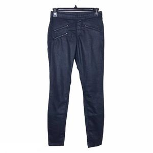 Hue Black Zippered Glossy Leggings Skinny Pants